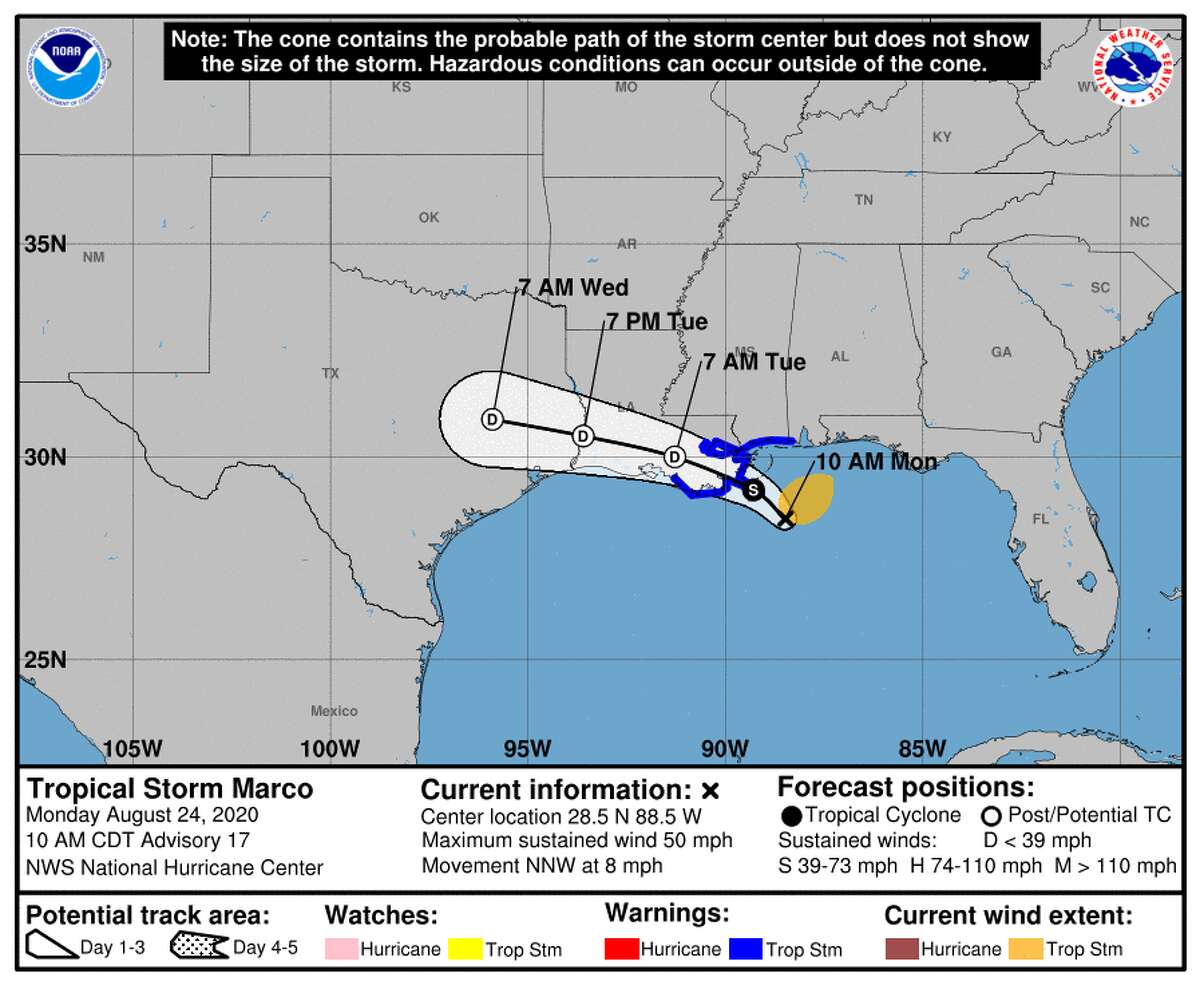 The latest track forecast for Tropical Storm Marco as of Monday, Aug. 24, 2020.