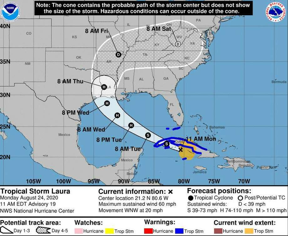 The National Weather Service projects Hurricane Laura to make landfall as a category 2 late Wednesday or early Thursday morning. Photo: NWS Lake Charles / NWS