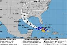 The National Weather Service projects Hurricane Laura to make landfall as a category 2 late Wednesday or early Thursday morning.