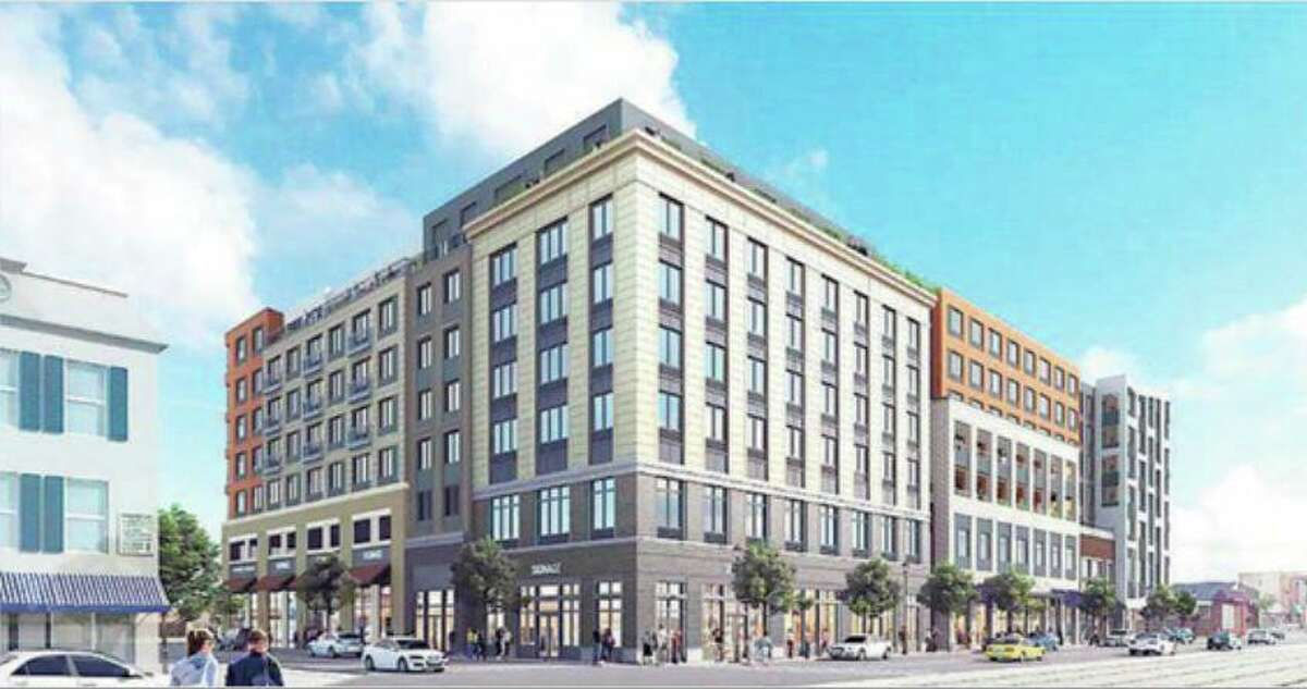 A revised building plan has been put forward for North Main Street and Mill Street in Port Chester, N.Y., near the Greenwich border.
