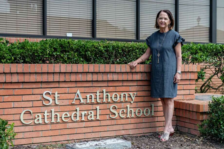 Marcia Stevens, the superintendent of Catholic schools for the Diocese of Beaumont stands outside the St. Anthony Cathedral Basilica School. Photo made on August 17, 2020. Fran Ruchalski/The Enterprise Photo: Fran Ruchalski, The Enterprise / The Enterprise / © 2020 The Beaumont Enterprise