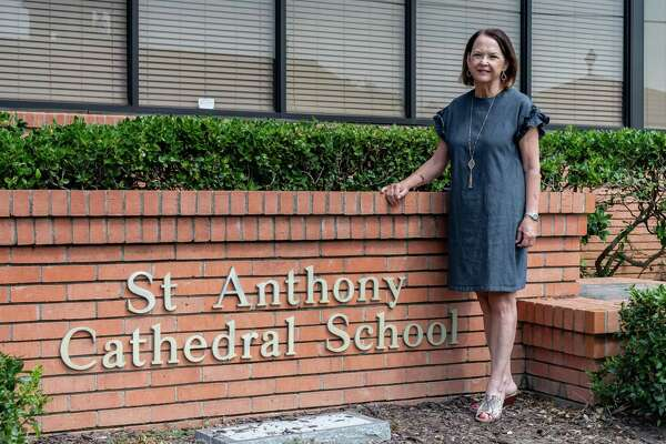 Marcia Stevens, the superintendent of Catholic schools for the Diocese of Beaumont stands outside the St. Anthony Cathedral Basilica School. Photo made on August 17, 2020. Fran Ruchalski/The Enterprise