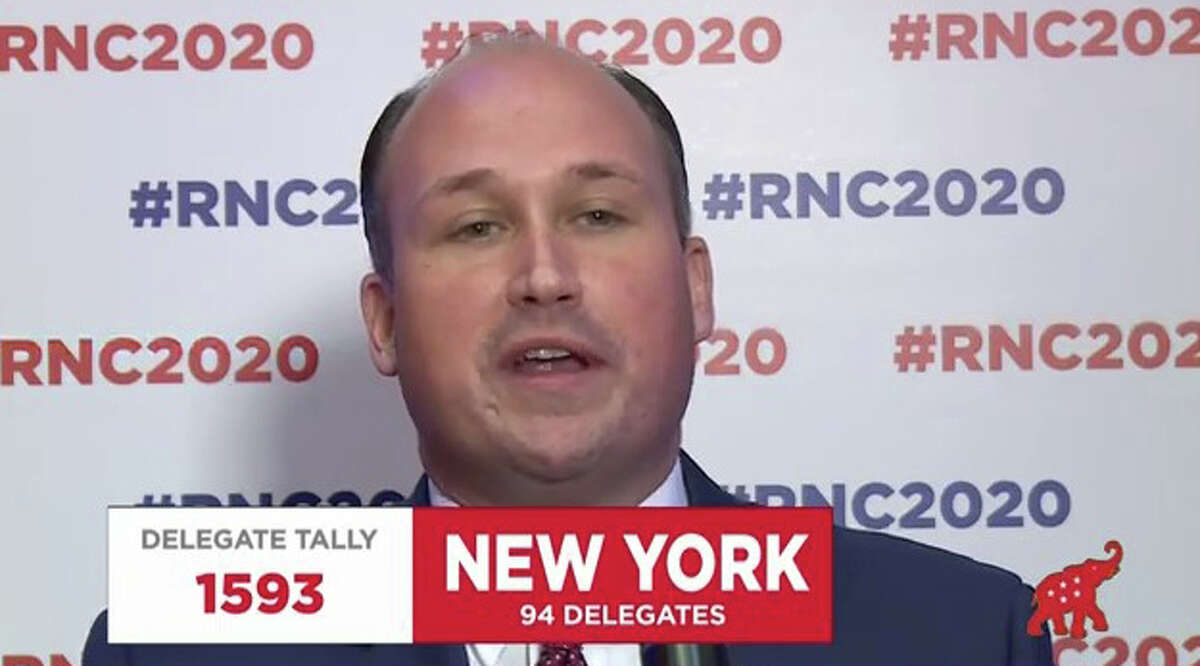 New York GOP Chairman Nick Langworthy declared New York's 94 delegates for President Donald Trump during the Republican National Convention on Monday Aug. 24, 2020.