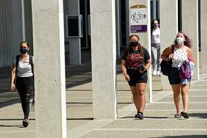 Students start their first day of class during the first semester at University at Albany on Monday, Aug. 24, 2020 in Albany, N.Y. (Lori Van Buren/Times Union)