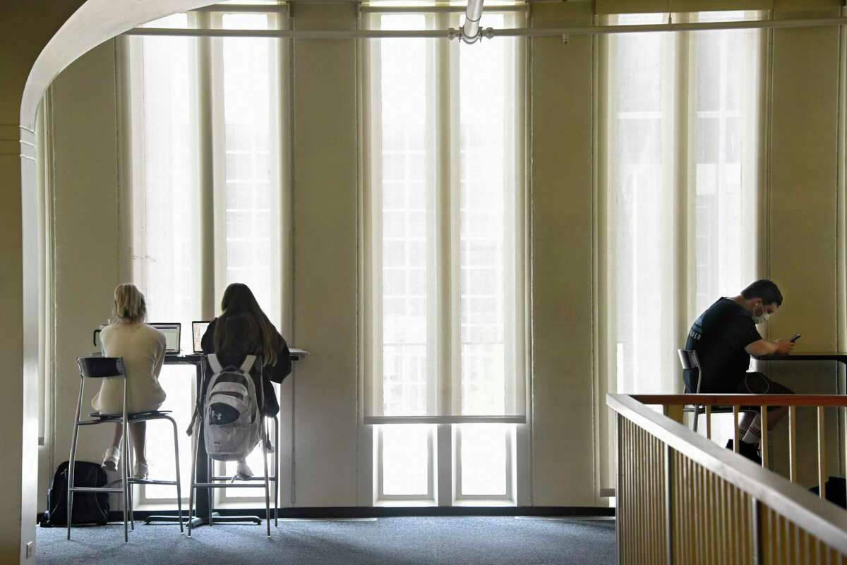 Students are seen in the campus center as they start their first day of class during the first semester at University at Albany on Monday, Aug. 24, 2020 in Albany, N.Y. (Lori Van Buren/Times Union)