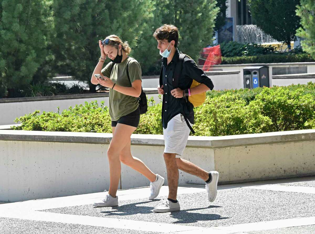 Students start their first day of class in the first semester at University at Albany on Monday, Aug. 24, 2020 in Albany, N.Y. (Lori Van Buren/Times Union)
