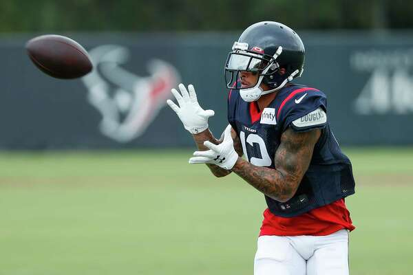 Houston Texans wide receiver Kenny Stills reaches out to make a catch during an NFL training camp football practice Monday, Aug. 24, 2020, in Houston.
