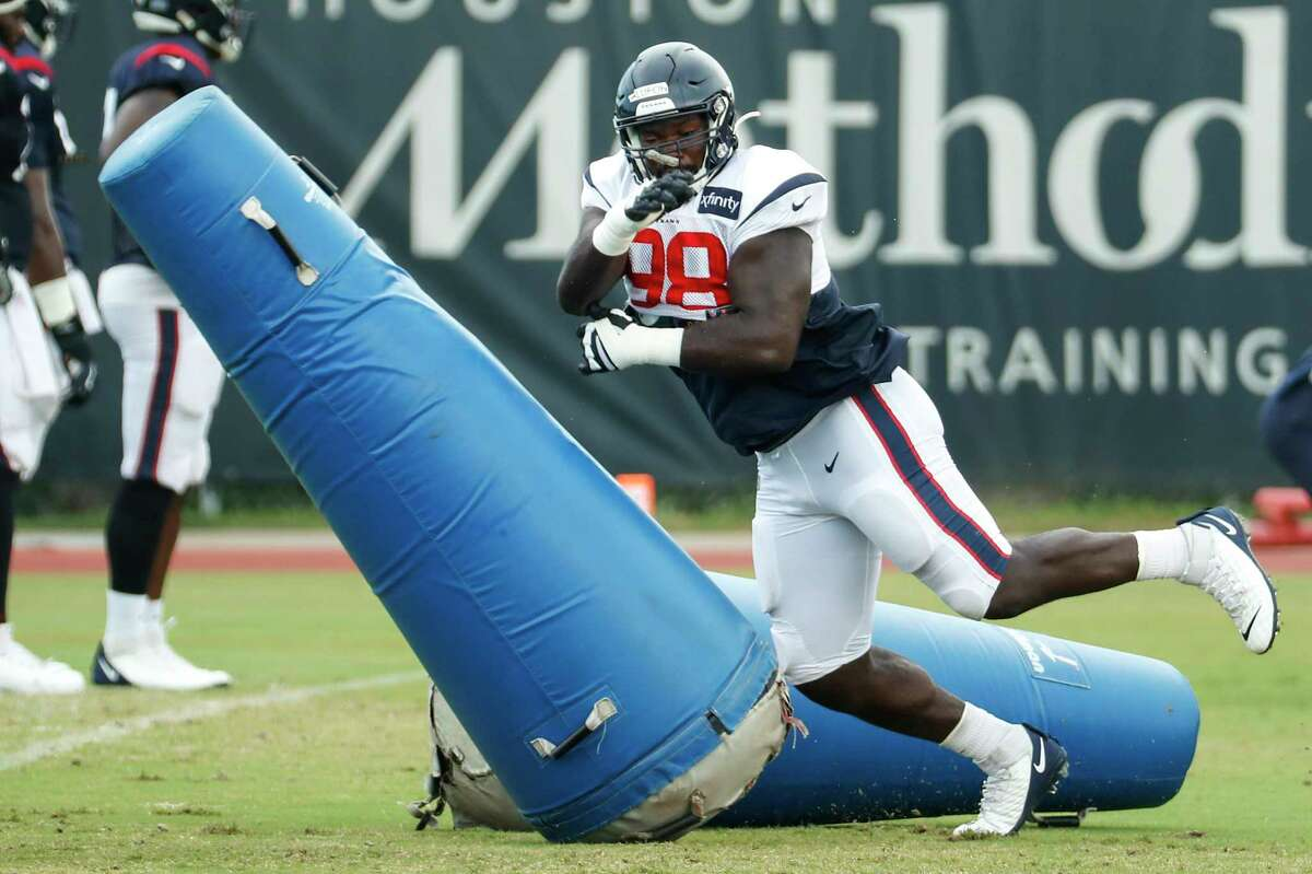 Auzoyah Alufohai saw his first Texans action in Sunday's loss at Indianapolis.