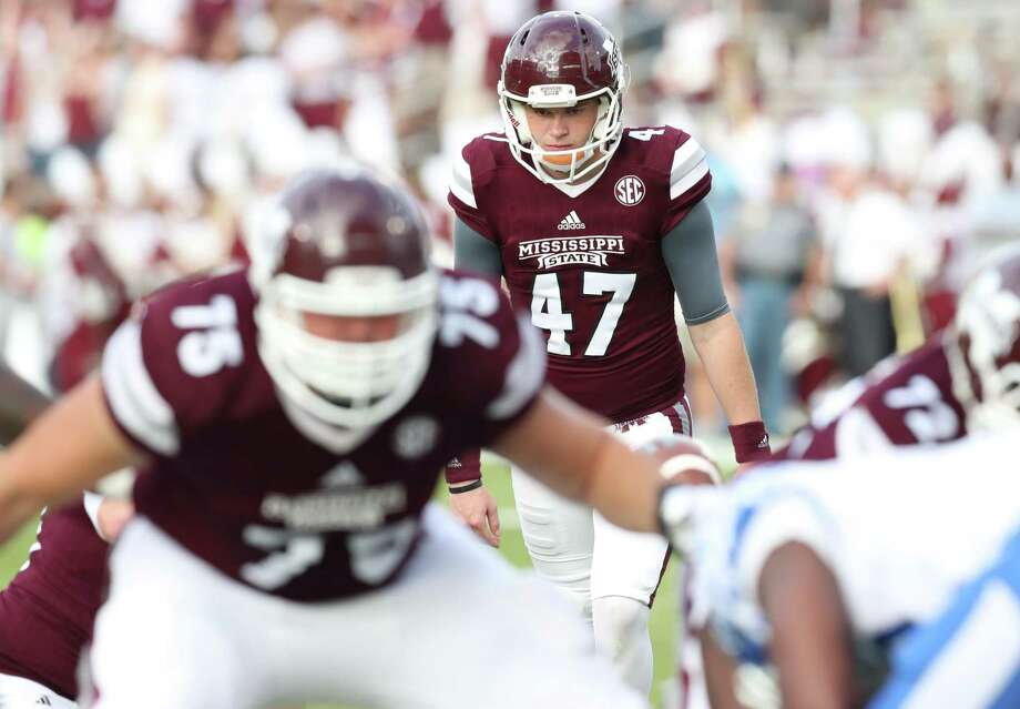Memorial graduate and Mississippi State freshman Jace Christmann has made every one of six field goal attempts and 25 point-after kicks through eight games. He made the Bulldogs as a walk-on. Photo: Mississippi State Athletics, Athletic Photographer / Kelly Price/MSU Athletics / Mississippi State Athletics