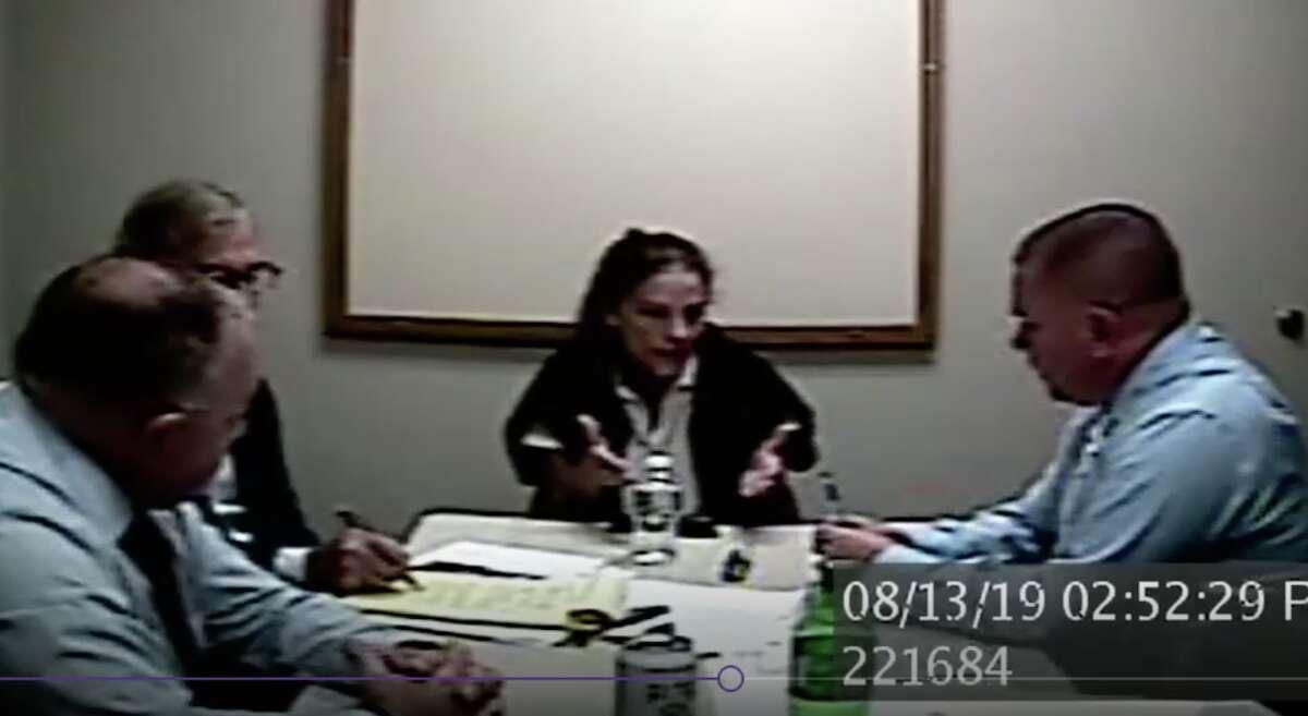 Michelle Troconis is interviewed by invetigators in Jennifer Dulos case.