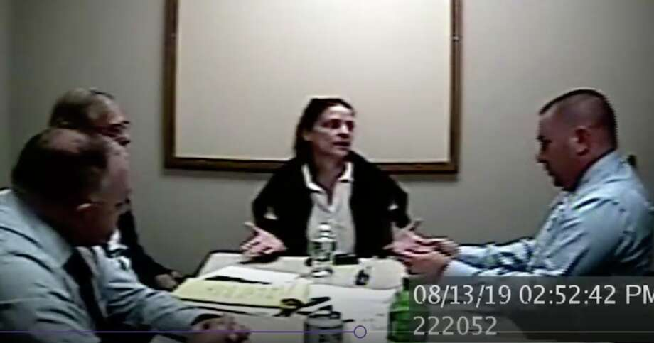 Michelle Troconis is interviewed by invetigators in Jennifer Dulos case. Photo: Screen Grab From Connecticut State Police Video