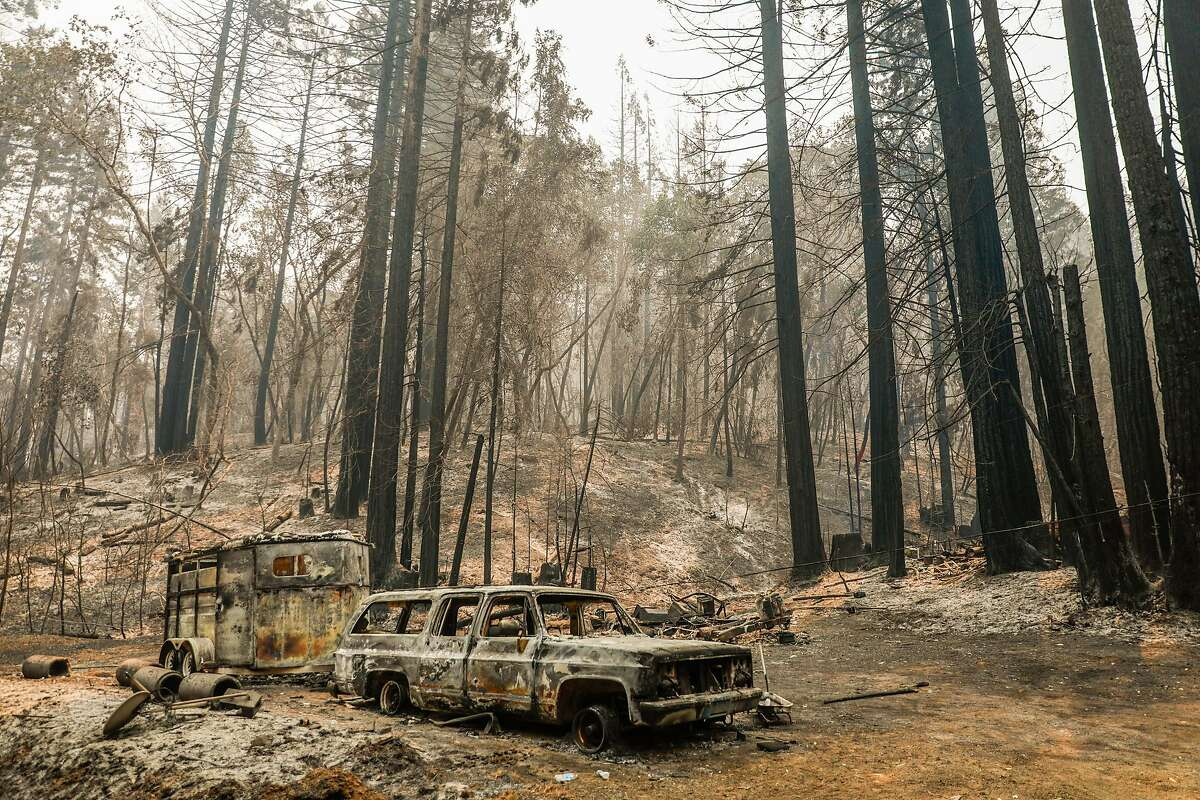 A burned out property on Mill Creek Road after the LNU Lightning Complex Fire tore through the area on Sunday, Aug. 23, 2020 in Healdsburg, California.
