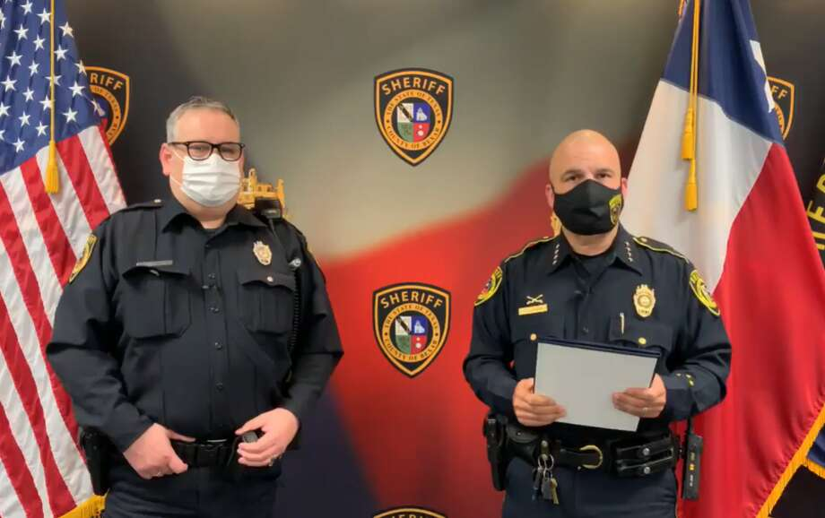 """Bexar County Sheriff Javier Salazar awarded a deputy the Lifesaving Medal for """"actions above and beyond"""" after saving a woman's life back in May. Photo: Bexar County Sheriff's Office"""
