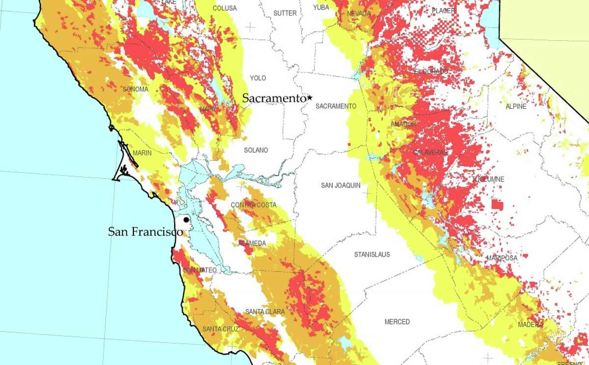 This Cal Fire map shows Northern California's fire severity zones, with yellow areas signifying moderate risk; orange, high risk; and red, very high risk.