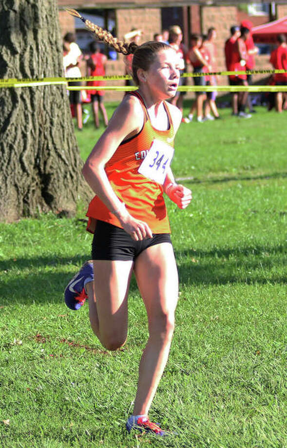 Edwardsville's Riley Knoyle approaches the finish in third place as a freshman in last season's Granite City Invite. Photo: Greg Shashack / The Telegraph