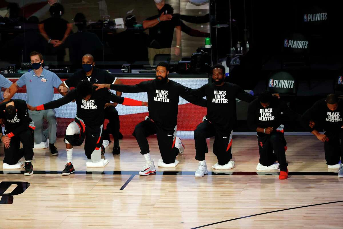 Rockets players, seen here before Game 4 of their series against Oklahoma City, joined Thunder players in deciding to boycott Wednesday's Game 5. That followed the Bucks boycotting Game 5 of their series against the Magic following the shooting of Jacob Blake by police in Kenosha, Wis.
