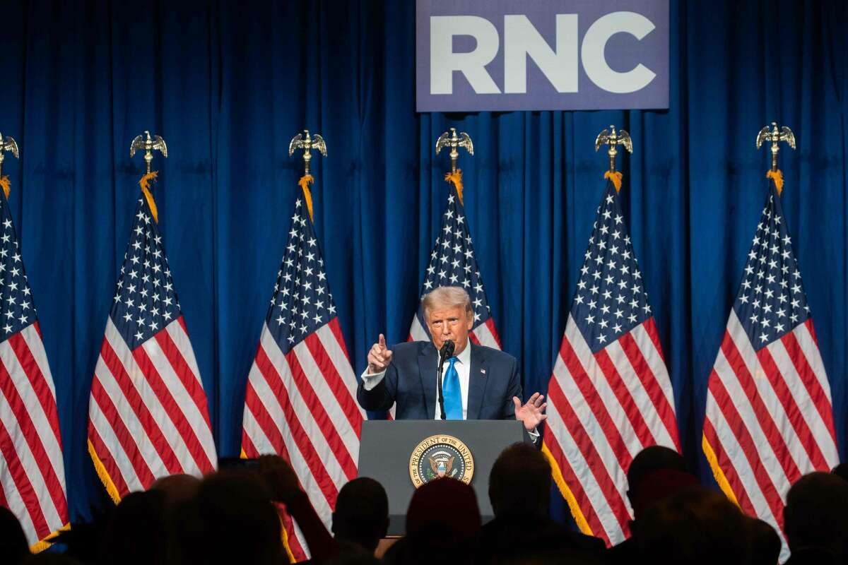 US President Donald Trump speaks as delegates gather during the first day of the Republican National Convention on August 24, 2020, in Charlotte, North Carolina. - President Donald Trump went into battle for a second term Monday with his nomination at a Republican convention where he will draw on all his showman's instincts to try and change the narrative in an election he is currently set to lose. (Photo by Jessica Koscielniak / POOL / AFP) (Photo by JESSICA KOSCIELNIAK/POOL/AFP via Getty Images)