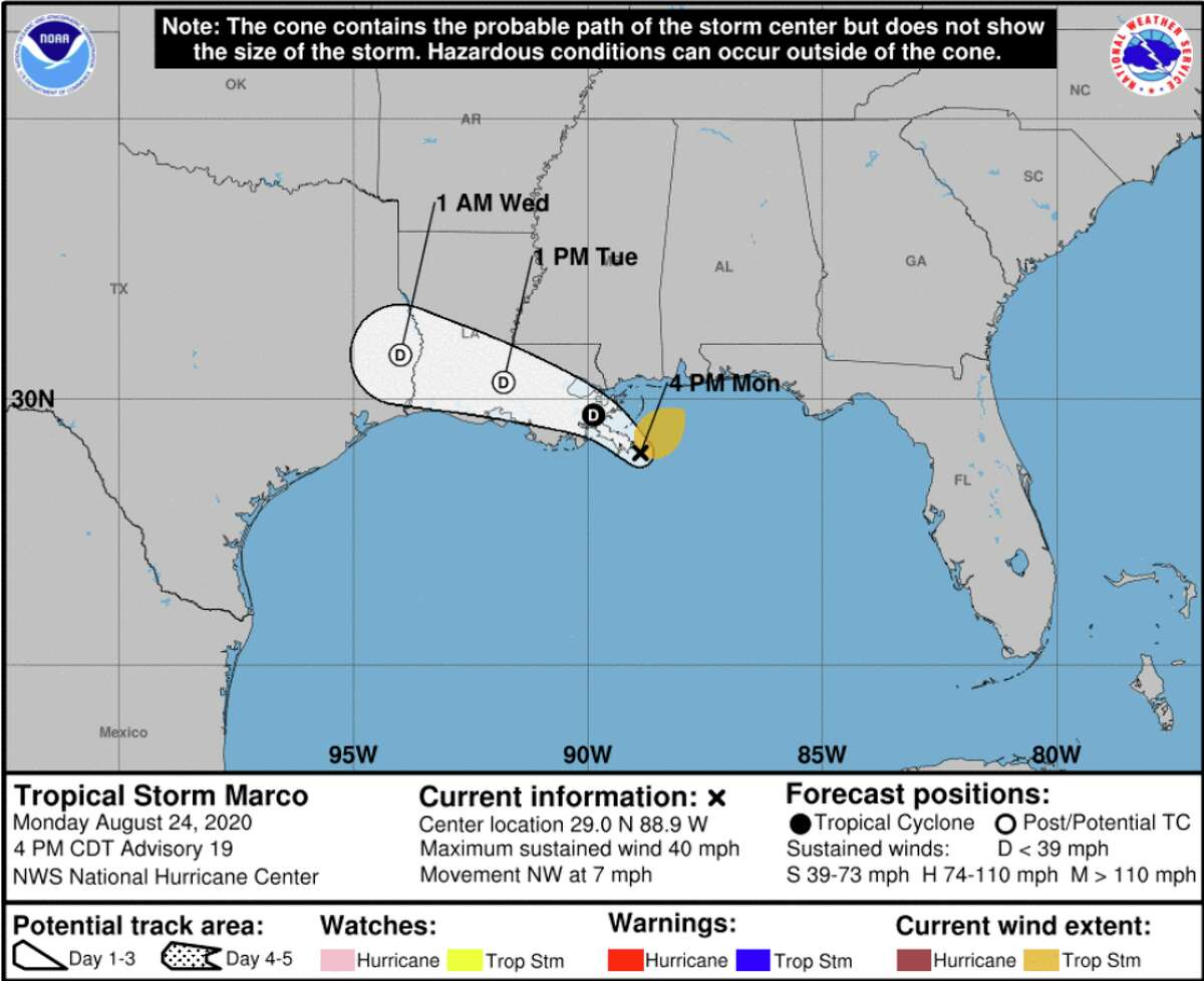 Marco and Laura continue to move inland toward the Gulf Coast. Marco is currently a weakening system, while Laura will likely intensify to hurricane status on Wednesday, possibly as a Category 2 hurricane.