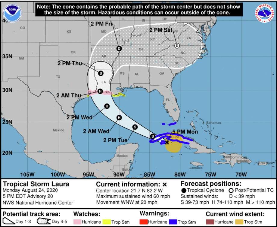 Marco and Laura continue to move inland toward the Gulf Coast. Marco is currently a weakening system, while Laura will likely intensify to hurricane status on Wednesday, possibly as a Category 2 hurricane. Photo: Courtesy National Hurricane Center