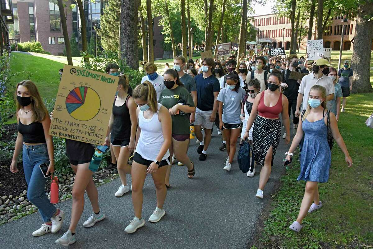 Students participate in a Skidmore first day protest, a collective action against Skidmore's culture of racism and inability to protect bipoc students at Skidmore College on Monday, Aug. 24, 2020 in Saratoga Springs, N.Y. (Lori Van Buren/Times Union)