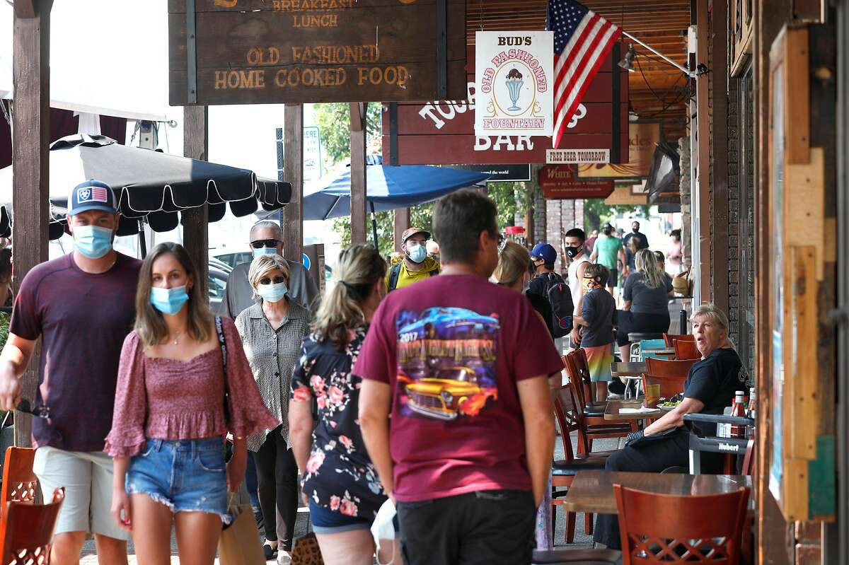 Visitors to downtown Truckee, Ca. on a weekday, Thurs. Aug. 20, 2020.