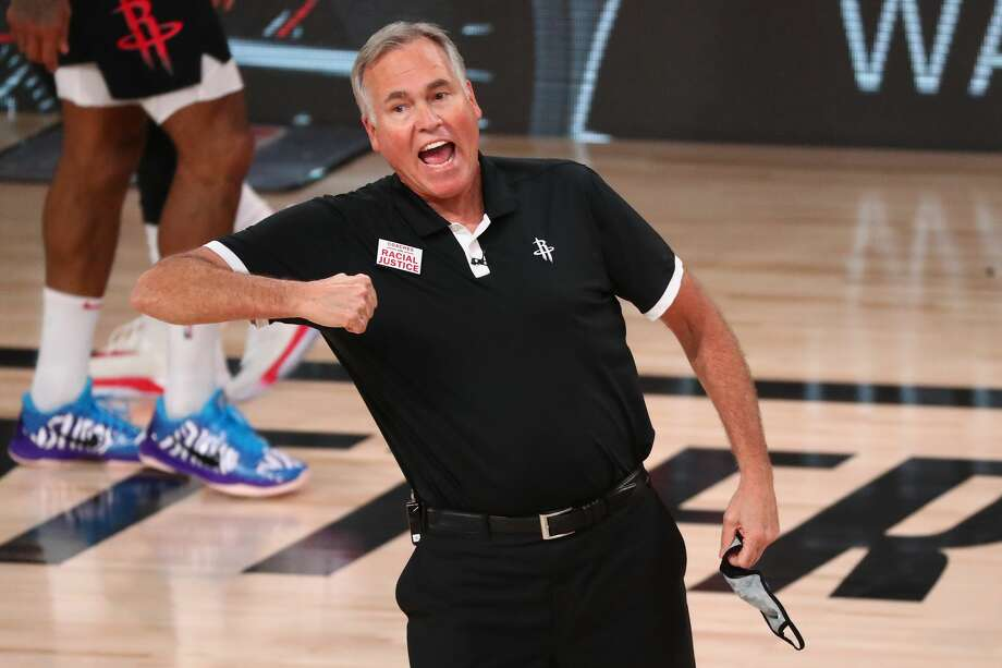 PHOTOS: A look at the records for every coach in Houston Rockets franchise history Head coach Mike D'Antoni of the Houston Rockets reacts during the second half of game four against the Oklahoma City Thunder of the first round of the 2020 NBA Playoffs at AdventHealth Arena at ESPN Wide World Of Sports Complex on August 24, 2020 in Lake Buena Vista, Florida. Photo: Pool/Getty Images / 2020 Getty Images