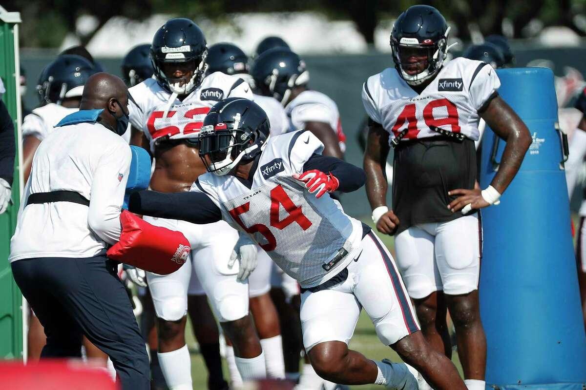 Houston Texans linebacker Jacob Martin (54) runs a drill during an NFL training camp football practice Sunday, Aug. 23, 2020, in Houston.