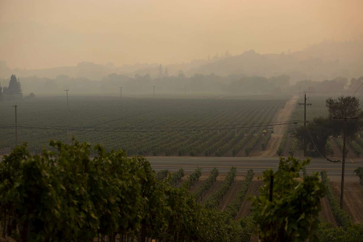 Smoke fills the valley on Dry Creek Road in Healdsburg, Calif. during the Walbridge fire on Saturday, August 22, 2020.