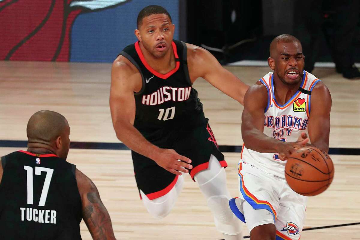 Chris Paul helped drive Oklahoma City past Eric Gordon and P.J. Tucker with a second-half rally to tie the series.