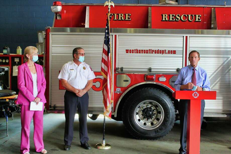 U.S. Sen. Richard Blumenthal, D-Conn at right, Mayor Nancy R. Rossi and West Haven Fire Department Chief James P. O'Brien on Aug. 24. Photo: Contributed