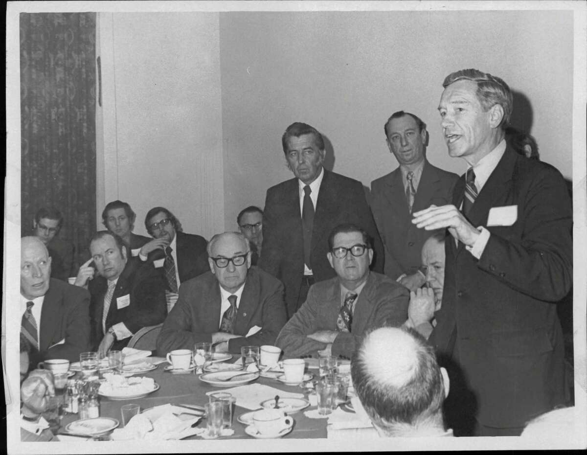Washington, D.C. - Congressman Samuel S. Stratton is shown here addressing a group of city officials and urban renewal officers from New York State at a breakfast meeting held in Washington last week to push for restoration of administration budget cuts in housing and urban renewal funds. Visible in the picture are (seated, left to right): Albany Mayor Erastus Corning; Amsterdam Mayor John Gomulka; Alderman Joseph Purtell, and Amsterdam Urban Renewal Director Frank Gillis; Undated (standing, left to right): Amsterdam Aldermen Karl Krajewski and Raymond Hall. April 09, 1973 (O'Neil/Times Union Archive)