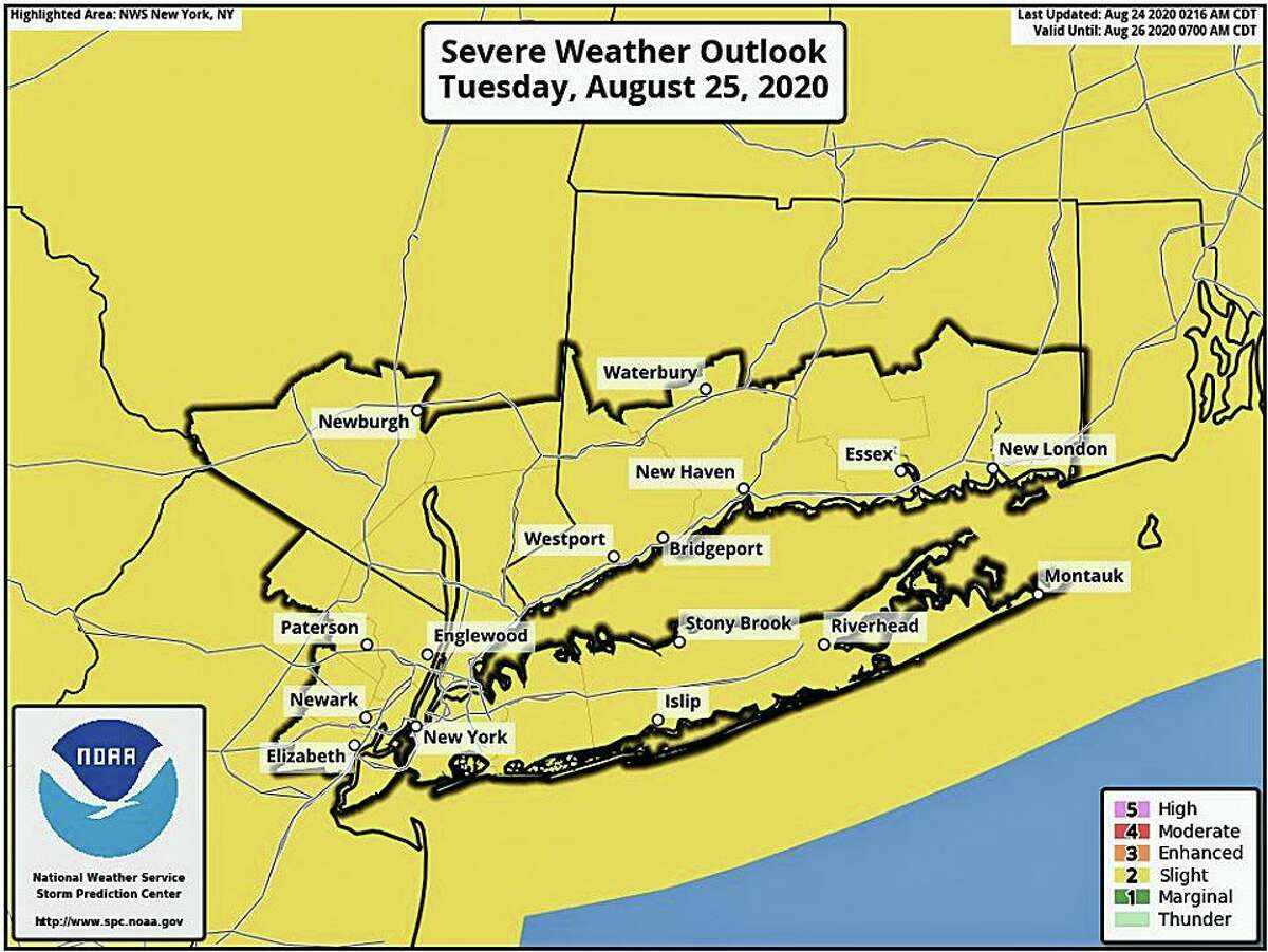 In its forecast discussion, the NWS says some forecast models show that southwest Connecticut has the best chances for thunderstorm activity.
