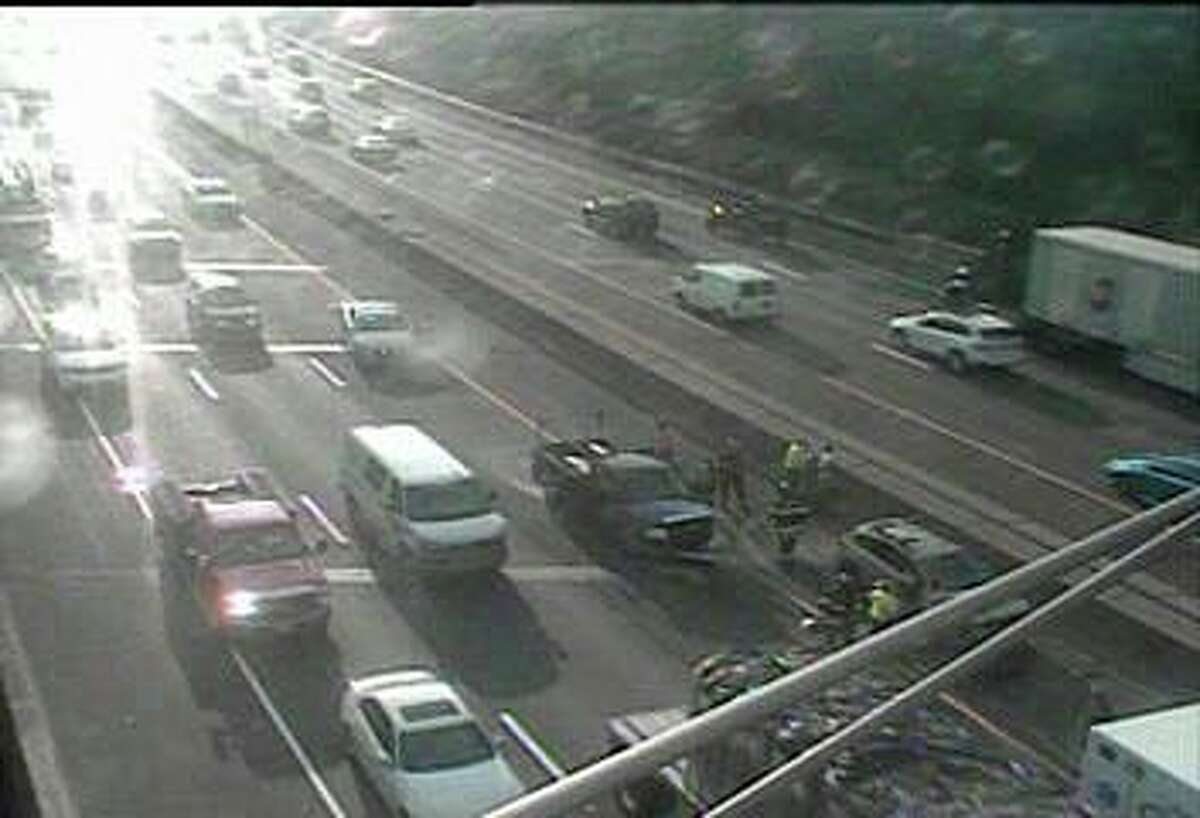 A three-vehicle accident on southbound I-95 has closed the left lane in Greenwich Tuesday morning on Aug. 25, 2020. The crash, reported at 7:27 a.m., has closed the lane between exits 6 and 5.