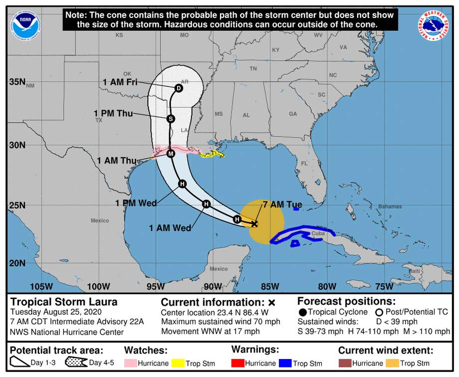 The latest track forecast for Tropical Storm Laura as of Tuesday, Aug. 25, 2020. Photo: National Hurricane Center