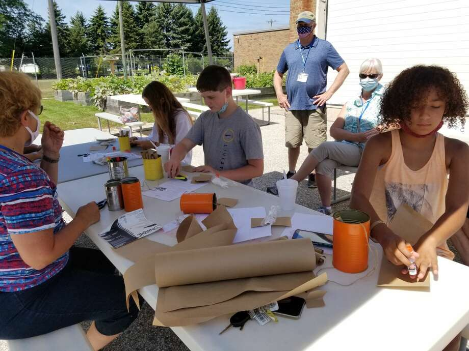 Since the Armory Youth Project in Manistee reopened in early August, students have participated in many activities outside such as building mason bee houses. Photo: Courtesy Photo