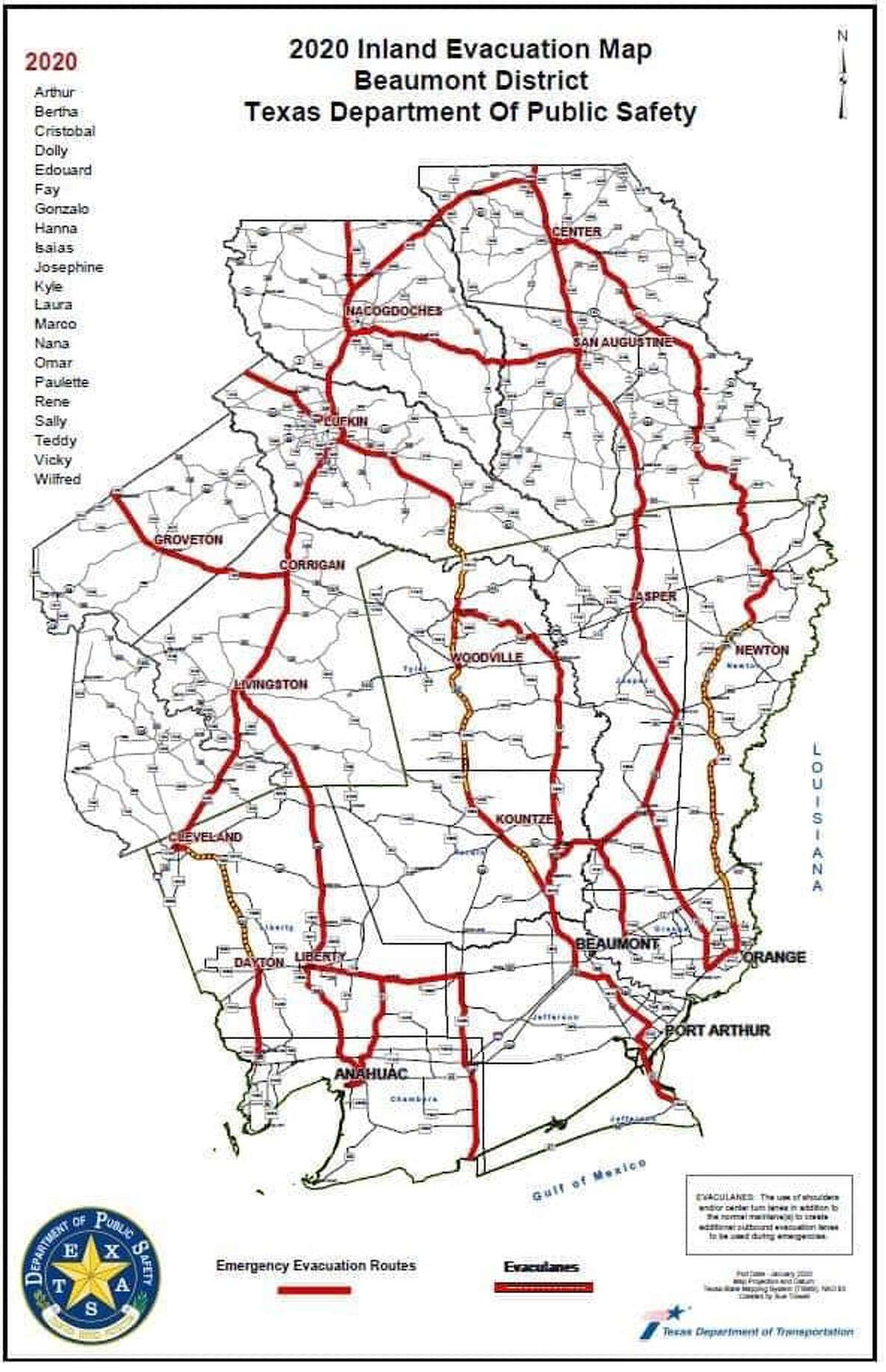 Texas Department of Public Safety evacuation routes