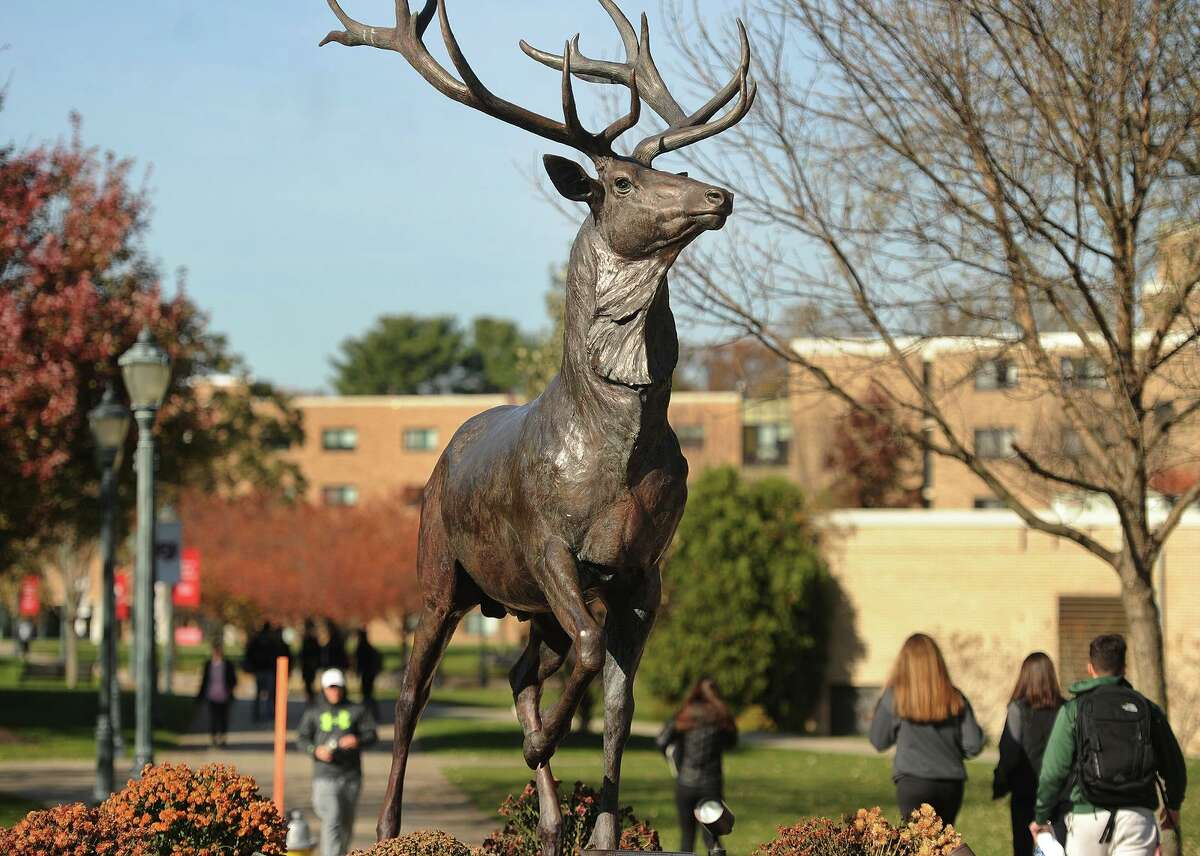 Students walk between classes past the bronze stag statue on the Fairfield University campus in Fairfield, Conn. on Wednesday, November 15, 2017.