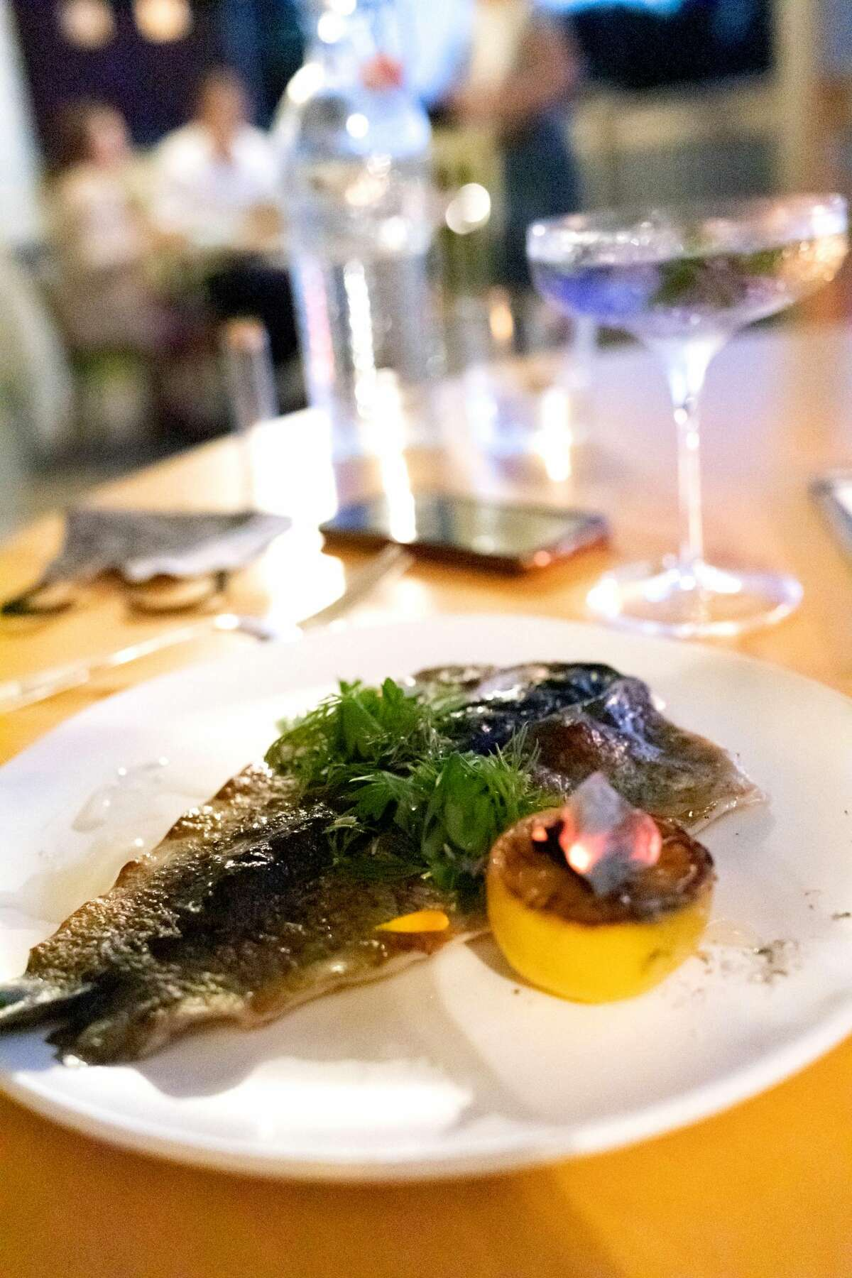 Wood-grilled trout was the lone animal protein in a recent multicourse meal at The Dutchess.(Photo by Konrad Odhiambo/For the Times Union.)