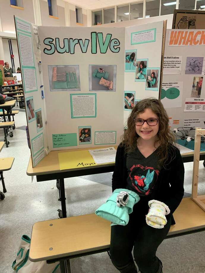Maya DiMauro,a 5th grader at Bear Path School in Hamden competed at the 2020 National Invention Convention in June and took home three awards. Photo: Margaret DiMauro / Contributed Photo