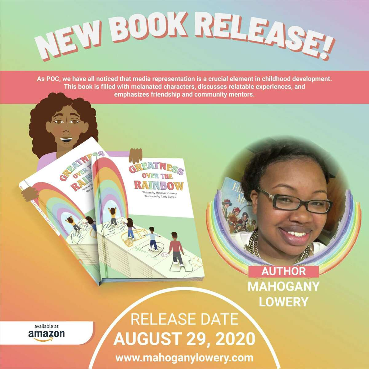 """New Haven resident and student Mahogany Lowery has written a children's book, """"Greatness Over the Rainbow."""""""
