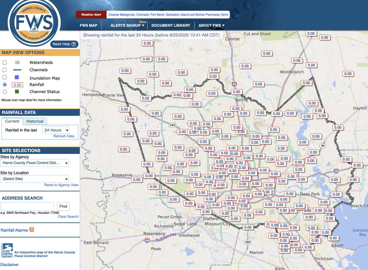 The Harris County Flood Warning System map