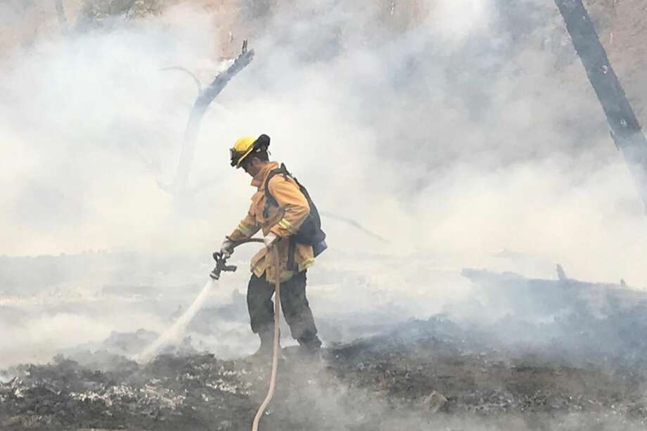 Alameda County firefighters battle the SCU Lightning Complex Fire near Mines Road in Livermore on Aug. 24, 2020. Photo: Alameda County Fire Dept.