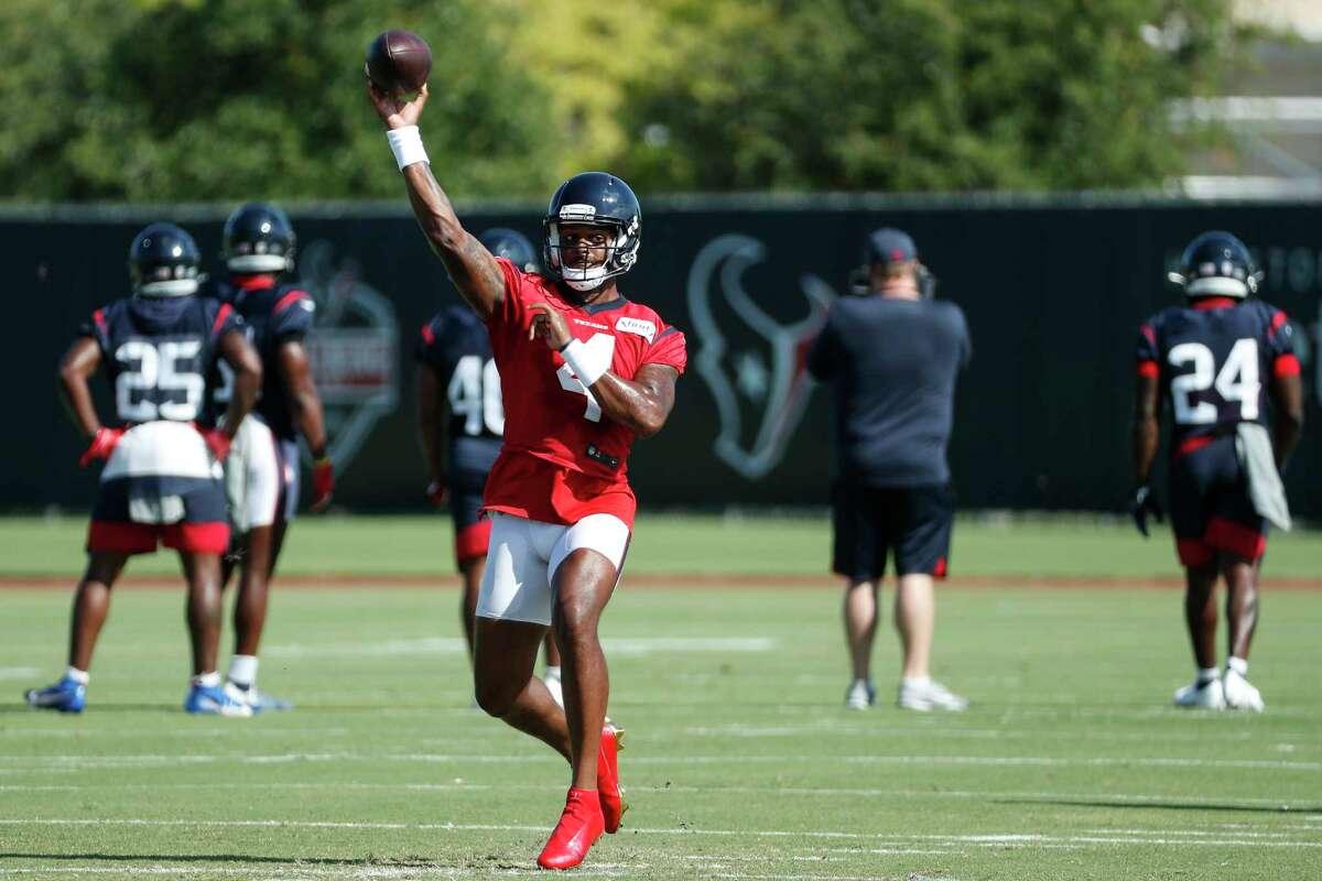 Houston Texans quarterback Deshaun Watson (4) throws a pass during an NFL training camp football practice Tuesday, Aug. 25, 2020, in Houston.