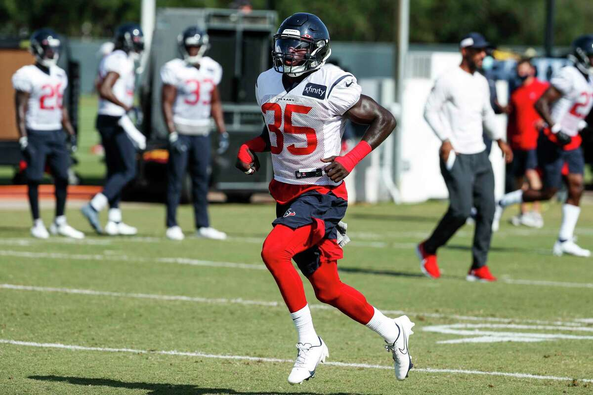 Houston Texans cornerback Keion Crossen (35) runs across the field during an NFL training camp football practice Tuesday, Aug. 25, 2020, in Houston.