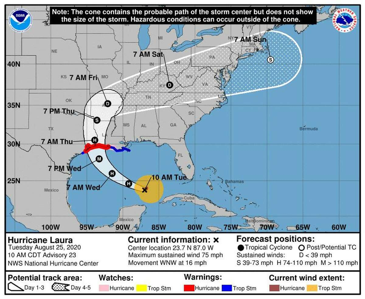 The latest forecast cone for Hurricane Laura as provided on Tuesday, Aug. 25, 2020, by the National Hurricane Center.