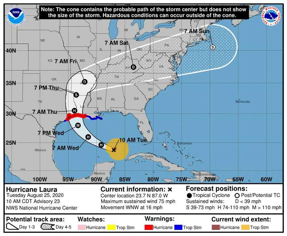 The latest forecast cone for Hurricane Laura as provided on Tuesday, Aug. 25, 2020, by the National Hurricane Center. Photo: National Hurricane Center