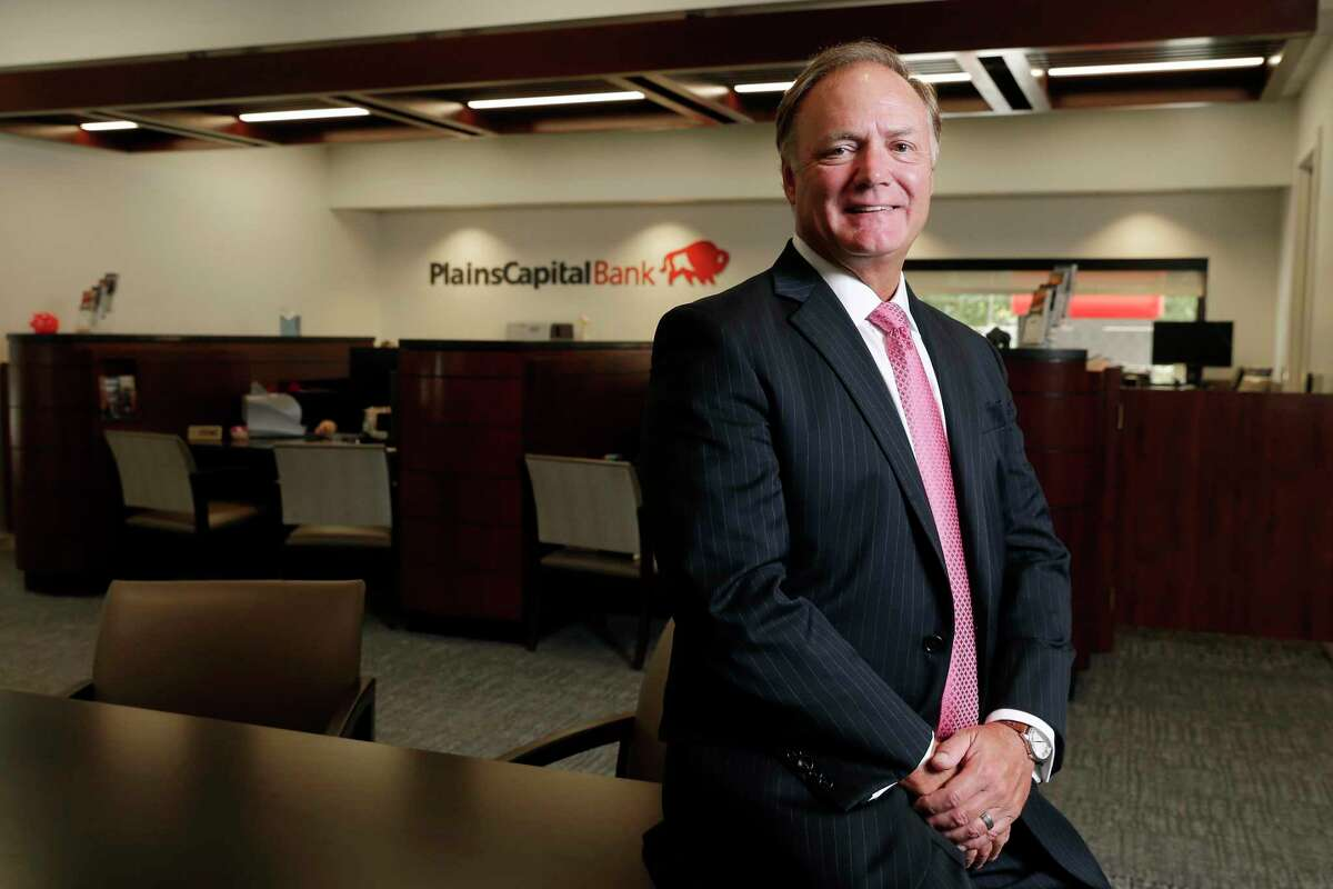Danny Schroder, president, in the lobby of the new branch of the PlainsCapital Bank Tuesday, Aug. 25, 2020 in The Woodlands.