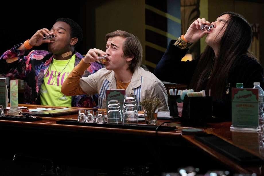 "High school pals Hags (Dexter Darden, left), Griffin (Skyler Gisondo) and Andrew (Eduardo Franco) take their first drink in ""The Binge."" Photo: Paul Viggiano /Hulu / 2020 Hulu"