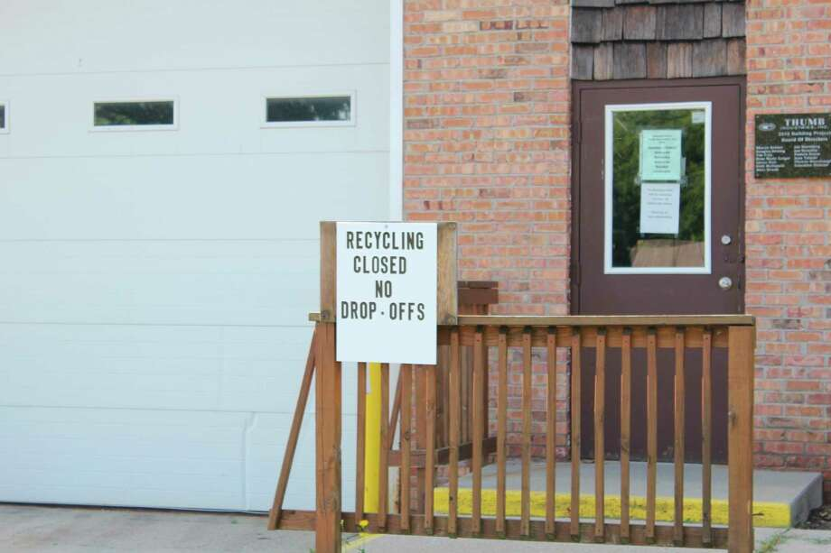 Signs at the Thumb Industries Recycling Center in Bad Axe indicate that the recycling service is closed. The Huron County commissioners have started to look at ways to bring back a recycling program for county residents. (Robert Creenan/Huron Daily Tribune)