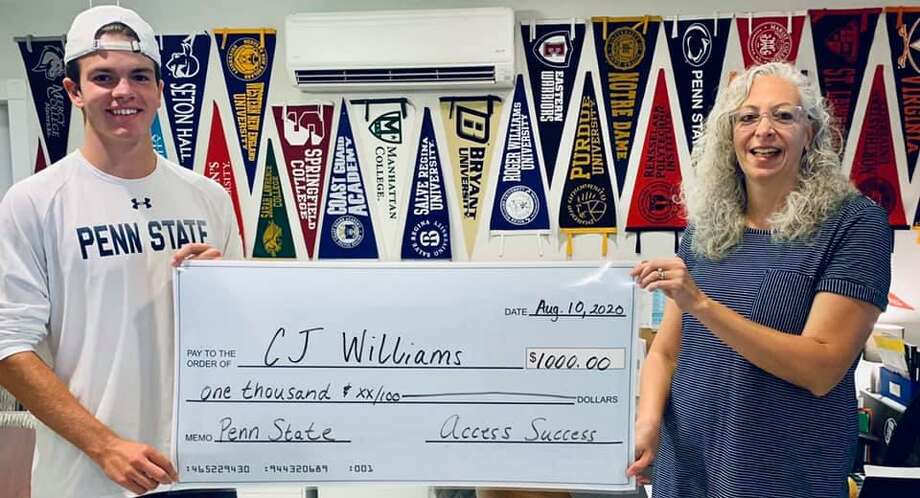 Access Success in New Milford recently presented its 2020 scholarship to CJ Williams of New Fairfield, who graduated this year. Access Success works with high schoolers and their parents to aid in the college search and application process. These students are then eligible to apply for an annual $1,000 scholarship. During the 2019-20 school year, Access Success worked with 76 seniors representing 16 high schools including Canterbury, Danbury, The Gunnery, Litchfield, New Fairfield, New Milford, Pomperaug, Ridgefield, Shepaug, and Wilton, as well as with area home schoolers. CJ is shown above with Francesca Morrissey of Access Success. Photo: Courtesy Of Access Success / / Danbury News Times Contributed